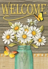 Garden Flag, Mason Jar, Daisies, Butterflies, Spring / Summer, Welcome