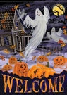 Garden Flag, Halloween, Ghosts, Haunted House, Jack-O-Lanterns