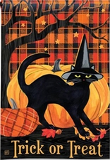 Garden Flag, Halloween, Witch Hat, Black Cat, Pumpkins
