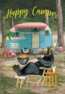 Garden Flag, Happy Camper, Bear, Barbecue & Trailer