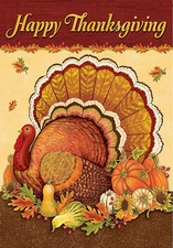 Garden Flag, Happy Thanksgiving Turkey, Americana