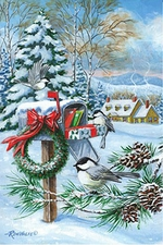 Garden Flag, Holiday, Christmas Mail, Presents, Chickadee, Americana