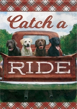Garden Flag, Labradors, Red Truck, Americana, Catch a Ride, Double Sided