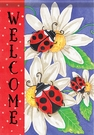 Garden Flag, Ladybug Trio, Daisies, Floral, Welcome, Double Sided