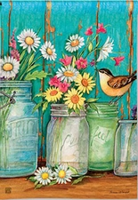 Garden Flag, Mason Jars, Flowers, Daisies, Americana, Just Picked, Spring