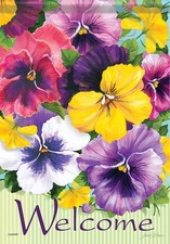 Garden Flag, Pansies, Floral, Flowers, Welcome, Double Sided