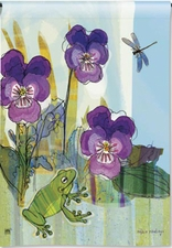 Garden Flag, Pansy Prince, Frog, Dragonfly, Flowers, Floral