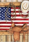 Garden Flag, Patriotic, Western, American Cowboy, Hat, Rope, Saddle