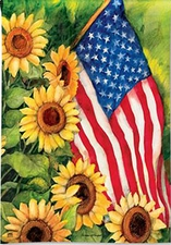 Garden Flag, Patriotic, American Flag & Sunflowers