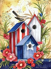 Garden Flag, Patriotic, Birdhouse Trio, Bird, Flowers