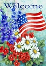 Garden Flag, Patriotic Welcome, Flowers, American Flag, Americana