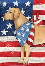 Garden Flag, Patriotic Yellow Lab, Labrador, Dog, Americana, American Flag