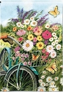 Garden Flag, Spring Flowers, Bicycle, Morning Ride