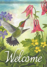 Garden Flag, Hummingbird Morning, Welcome, Spring / Summer