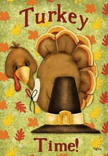 Garden Flag, Thanksgiving, Turkey Time, Pilgrim Hat, Fall Leaves