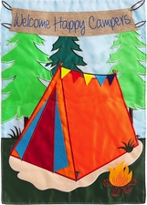 Garden Flag, Welcome Campers, Double Sided Applique