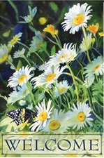 Garden Flag, Welcome Daisies, Flowers, Spring / Summer