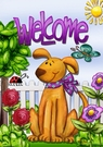Garden Flag, Welcome Dog, Spring, Americana, Flowers, Ladybug, Butterfly