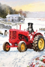 Garden Flag, Winter, Tractor, Dog, Americana