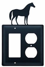 GFI and Outlet, Horse, Wrought Iron