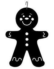 Gingerbread Boy Silhouette, Hanging Art, Wrought Iron
