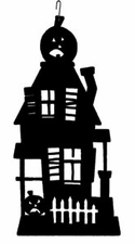 Haunted House Silhouette, Hanging Art, Wrought Iron