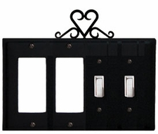 Double GFI & Double Switch Cover, Heart, Wrought Iron