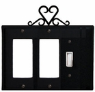 Double GFI and Switch Cover, Heart, Wrought Iron