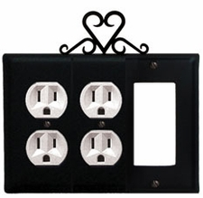 Double Outlet and GFI Cover, Heart, Wrought Iron
