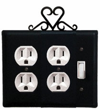 Double Outlet and Switch Cover, Heart, Wrought Iron