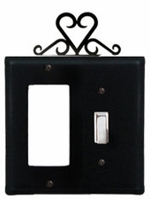 GFI and Switch Cover, Heart, Wrought Iron