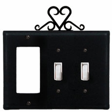 GFI and Double Switch Cover, Heart, Wrought Iron