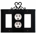 GFI, Outlet and GFI Cover, Heart, Wrought Iron