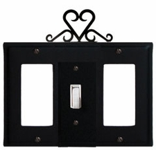 GFI, Switch and GFI Cover, Heart, Wrought Iron