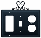 GFI, Switch and Outlet Cover, Heart, Wrought Iron