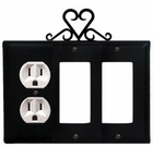 Outlet and Double GFI Cover, Heart, Wrought Iron