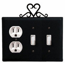 Outlet and Double Switch Cover, Heart, Wrought Iron