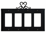 Quad GFI Cover, Heart, Wrought Iron