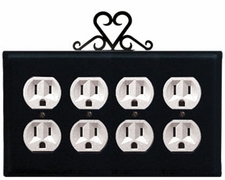 Quad Outlet Cover, Heart, Wrought Iron