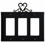 Triple GFI Cover, Heart, Wrought Iron