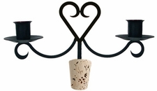 Heart - Wrought Iron Wine Bottle Topper - Candelabra