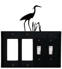 Double GFI & Double Switch Cover, Heron, Wrought Iron