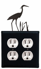 Double Outlet Cover, Heron, Wrought Iron