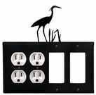 Double Outlet & Double GFI Cover, Heron, Wrought Iron