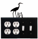Double Outlet & Double Switch Cover, Heron, Wrought Iron