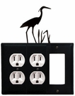 Double Outlet and GFI Cover, Heron, Wrought Iron