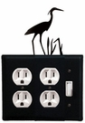 Double Outlet and Switch Cover, Heron, Wrought Iron