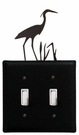 Double Switch Cover, Heron, Wrought Iron