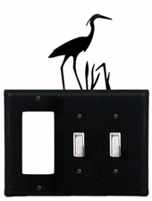 GFI and Double Switch Cover, Heron, Wrought Iron