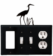 GFI, Double Switch and Outlet Cover, Heron, Wrought Iron
